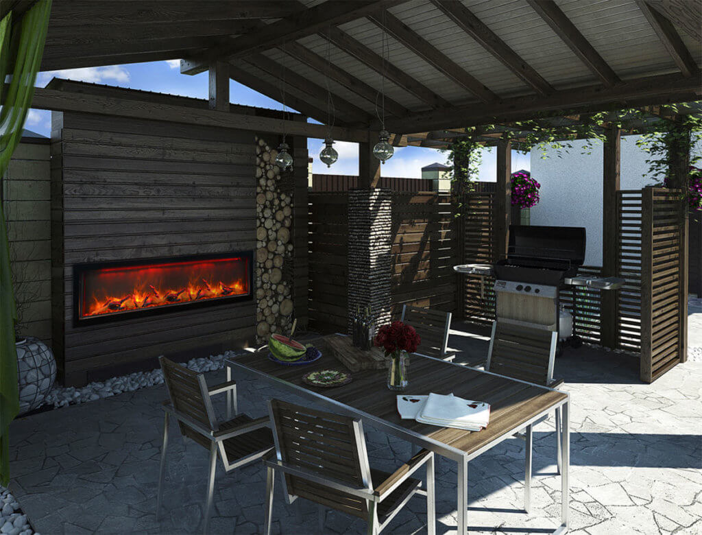 outdoor electric fireplace